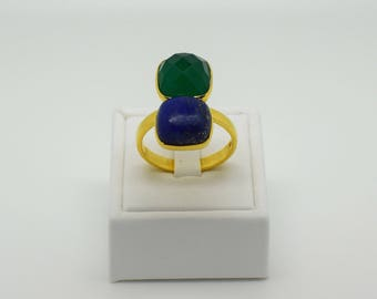 Onyx & Lapis Gemstone Ring