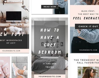 Social Media Kit, Instagram Templates, Pinterest Templates, Social Media for Bloggers, Pinterest Pins Instant Download for Photoshop