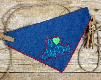 "Slip-On Pet Bandana (Embroidered ""I <3 My Dog"")"