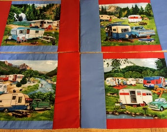 """Campers """"Nostalgia of Classic Campers"""" Placemats Set 4. Beautiful Camper artwork"""