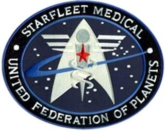 "FREE SHIPPING-Domestic-InspireMeByAudrey Star Trek Medical Insignia Logo Uniform Embroidered Sew/Iron-on Patch 4"" x 3.25"""