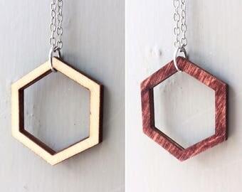 Reversible Hexagon Pendant Necklace
