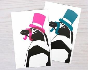 Handmade Screen Printed Postcard of Siñor Penguin - Animals