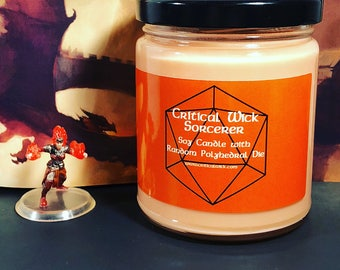 Sorcerer Scented Tabletop Soy Candle with Random Polyhedral Die Inspired by D&D and Pathfinder
