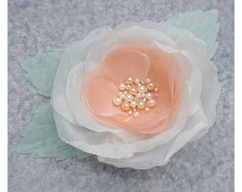 Flower brooch made of organza fabric, ivory, peach and light green. embroidery beads.