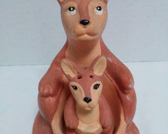 Vintage Kangaroo Mother and Baby Salt and Pepper Shakers