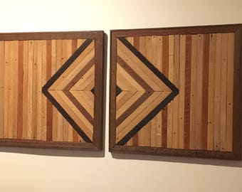 Geometric Reclaimed Wood diptych- 2 panels