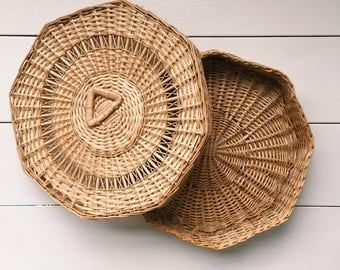 Woven Octagon Basket with Lid
