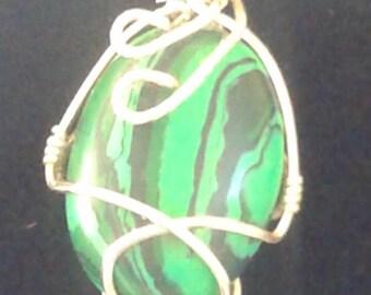 Malachite cabachon pendant