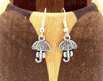 Earrings silver umbrella aged, umbrella, kids jewelry