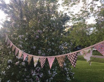 Pink floral bunting flag banner