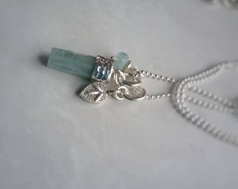 Aquamarine Charm Set - Sterling Silver Charm Necklace - Aquamarine Jewelry