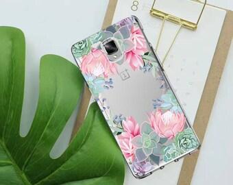SUCCULENT case, OnePlus 3 case, OnePlus 3T case, OnePlus 5 case, OnePlus Five case, floral case, silicone case, clear OnePlus case, cactus