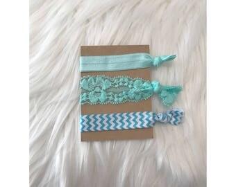 BLUE CHEVRON Elastic Hair Tie Set // Hair Ties, Ponytail Holders, Hair Tie Bracelet
