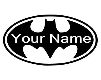 BATMAN Logo with Your Name Inside Logo Vinyl Decal for Wall FREE Shipping YETI