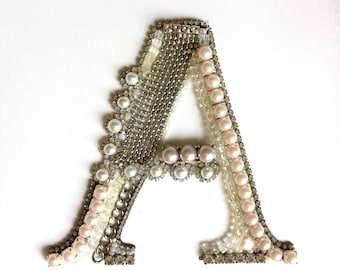 letter A - alphabet, wall hanging, decorative arts, jewellery art, upcycled jewellery