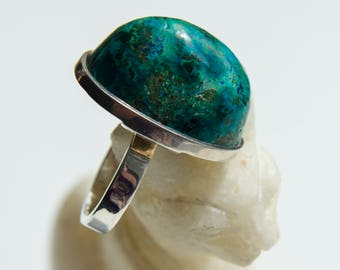 "The Ring ""Mystery of the summer hill"". Chrysocolla with silver."