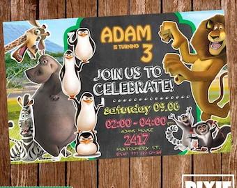 Madagascar Invitation, Madagascar Birthday Invitation, Madagascar Printable or Printed Invitation, Madagascar Printable Party