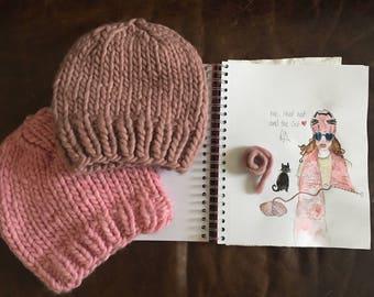 Simple Beanie, Hat & Scarf PDF Knit Pattern