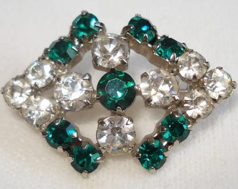 Vintage Green And Clear Diamante Pin Brooch. Gift For Her Valentine Mothers Day Birthday