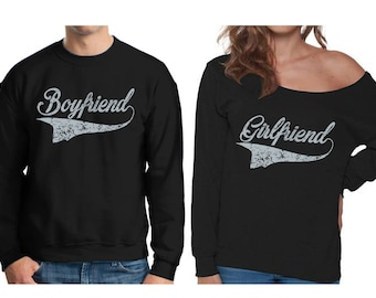 Boyfriend Sweatshirt Matching Girlfriend Off The Shoulder Sweatshirt Couple Sweaters for Valentine's Day Anniversary Gifts for Couples
