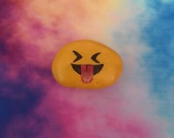 Tongue-Closed Eyes Emoji Handpainted Rock Refrigerator Magnet / Garden Accent