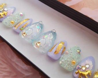 Unicorn of the Sea- press on nails, glue on nails, reusable nails, false nails, fake nails