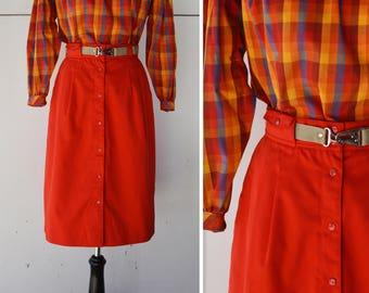 1970's High Waist Knee Length Skirt | Women's Red High Waist Skirt | Vintage Women's Knee Length Skirt