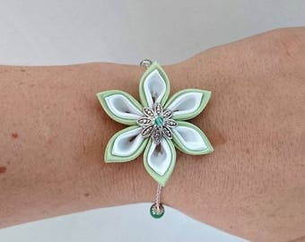 Apple green and white kanzashi flower chain bracelet.