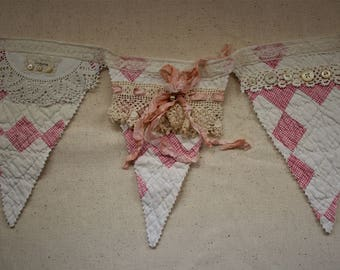 Vintage Banner Bunting ~ Shabby Chic ~ Baby ~ Cottage ~ Pink Cutter Quilt Bunting ~ Wedding ~ Farmhouse