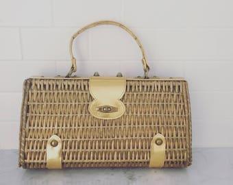 GOLD Goddess VINTAGE woven basket purse handbag