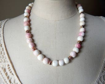 Angel Skin Pink Conch Vintage Bead Necklace