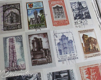 Vintage postage stamp stickers, set of different 6 sheets