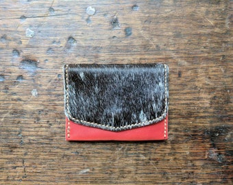 50% off Sale! Red Leather Wallet with Dark Cowhide