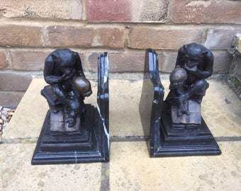 Pair of Bookends Ape Contemplating Humanity