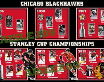 Chicago Blackhawks Stanley Cup Championships Poster 12x18 10x15 20x30 inches