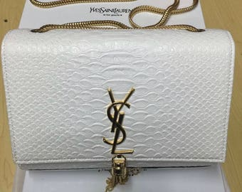 Designer white YSL clutch bag