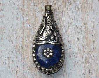 Tibetan Lapis Repousse Drop Flower Pendant, Tibet Drop Pendant, Lapis Pendant
