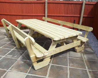 Traditional Pub-Style Garden Picnic Table / Bench Set with Back Rests (Various Sizes Available)