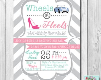 Wheels or Heels Invitation Gender Reveal OR Baby Shower OR Any Event!