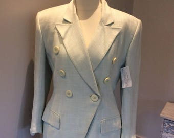 Vintage 1980's Christian Dior double breasted pale green jacket, UK 10/12