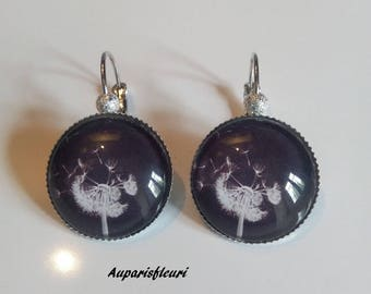 "Silver earrings, ""Dandelion"" glass cabochon bead"