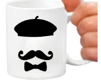 paris mugs, ceramic coffee mugs, paris gift items, printed coffee mugs, paris gifts, bonjour mugs, bonjour gifts, birthdays, paris, berets,