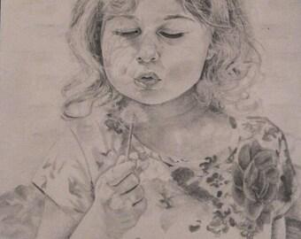 Custom graphite pencil portrait based on photography