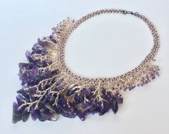Purple waterfall necklace, fringe necklace, bead necklace, summer necklace, gift for her, seed bead necklace, boho necklace, gift for women