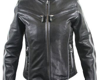 All New Women's Black/Silver Multi Vented Leather Motorcycle Jacket