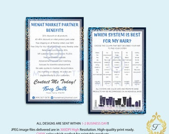 BOTH CARDS, Monat Systems, Monat Market Partner Benefits, Custom Monat Hair Care Card, Fast Free Personalization, Monat Business Cards MN24