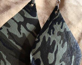 Large Teardrop 100% Leather Camo Earrings