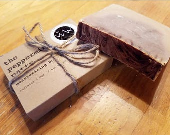 Moisturizing Peppermint and Cocoa Soap 4 oz Bar Handmade and All-Natural // the Peppermint Patty