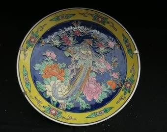 ancienne assiette en porcelaine décorative oiseaux made in Japan, pájaros decorativos antiguos, faisans ou oiseau de paradis